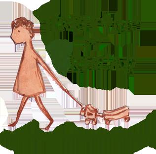 Uma ilustração que representa o logo do projeto território do brincar. Exibe uma criança segurando uma coleira e puxando um cachorrinho de brinquedo. Seguindo embaixo a frase: Um encontro com a criança brasileira.